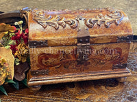 Hand Carved Wood Treasure Chest Box Tuscan