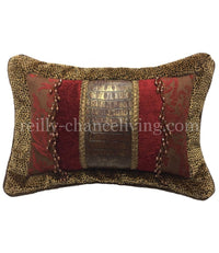 Decorative Pillow Red Chenille Faux Croc and Velvet Cheetah 19x14