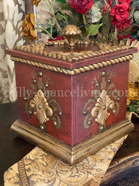 Old World Style Decorative Box with Lid in Antique Red Finish