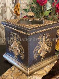 Old World Style Decorative Box with Lid in Chocolate and Antique Gold Finish