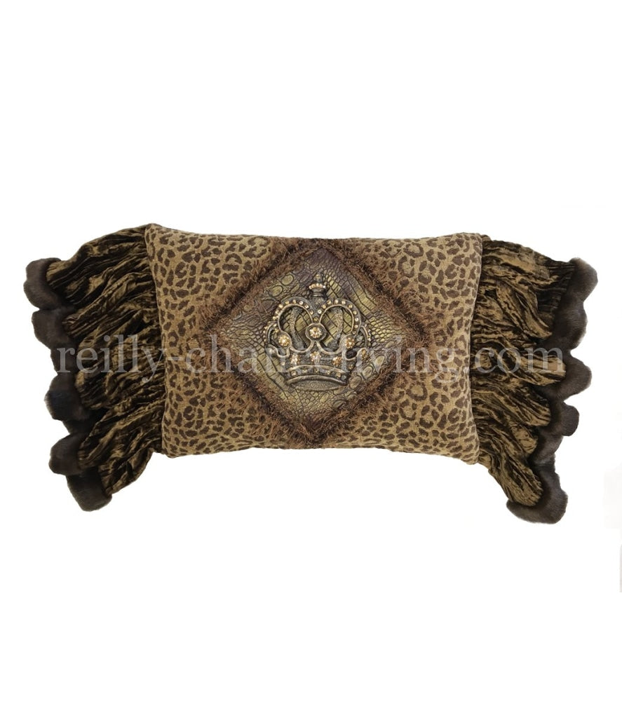 Designer Leopard Accent Pillow With Jeweled Crown