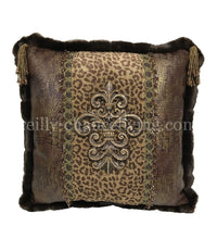 Designer Leopard Accent Pillow with Jeweled Medallion 20x20