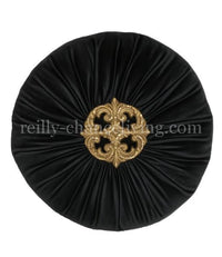 Decorative Round Pillow Black Velvet Swarovski Jeweled Medallion
