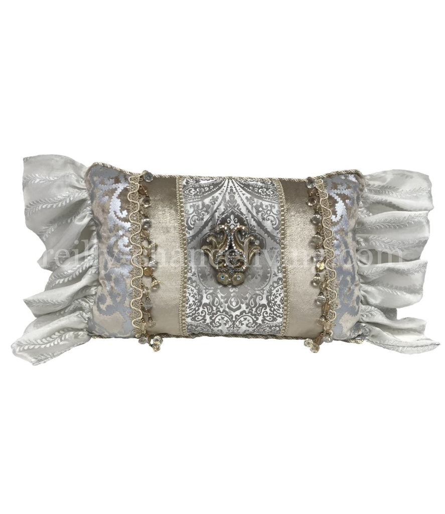 Glam Decorative Pillow Rectangle Silver And Off White Reilly Chance Collection