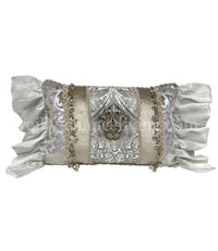 Glam Decorative Pillow Rectangle Silver and Off White