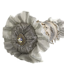 Glam Decorative Pillow Bolster Silver And Off White