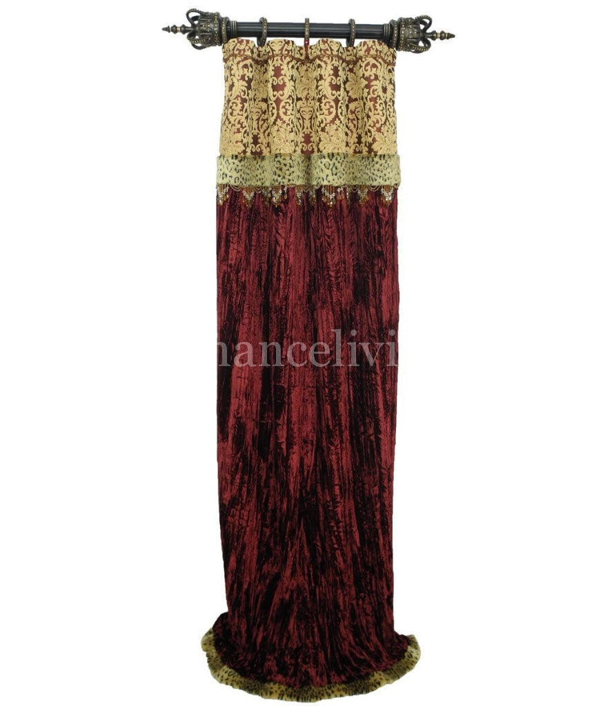 Luxury Curtain Panel Burgundy Velvet Style 7 With Band Majesty Collection