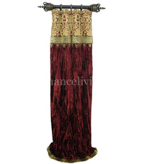 Luxury Curtain Panel Burgundy Velvet Style #7 with band Majesty Collection