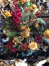 Luxury Designer Faux Floral Arrangements Large Red and Gold