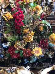 Luxury Designer Faux Floral Arrangements Large Red And Gold Reilly-Chance Home Decor Retail Store