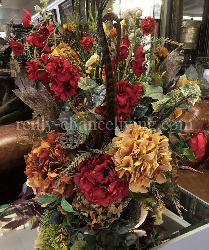 Luxury Designer Faux Floral Arrangements Large Red And Gold Reilly Chance Collection