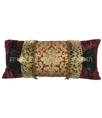 Luxury Accent Pillow Burgundy Gold and Leopard with Feathers 29x14