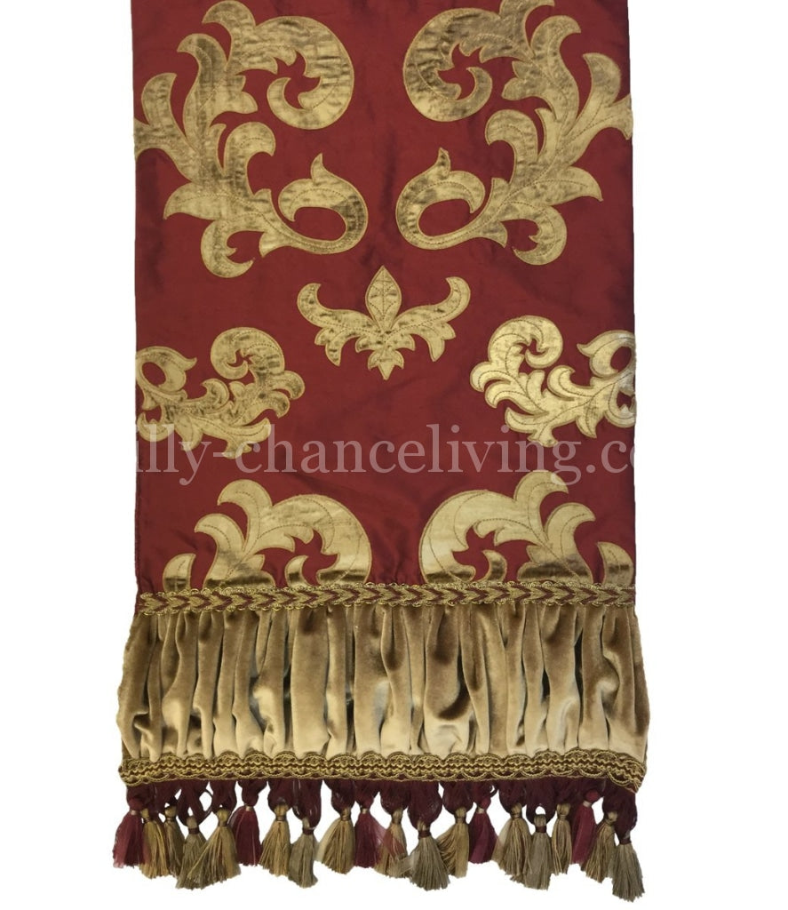 Burgundy Red Silk Embroidered Table Runner 17X72