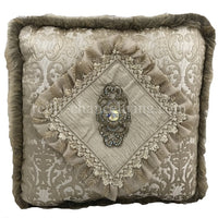 Luxury Neutral Accent Pillow with Swarovski Medallion 20x20