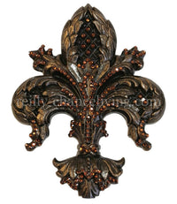 Drapery Medallion/Tassel Tie Back Holder Fleur de Lis Jeweled Large