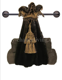 Faux Mink Towel Holder with Tassel