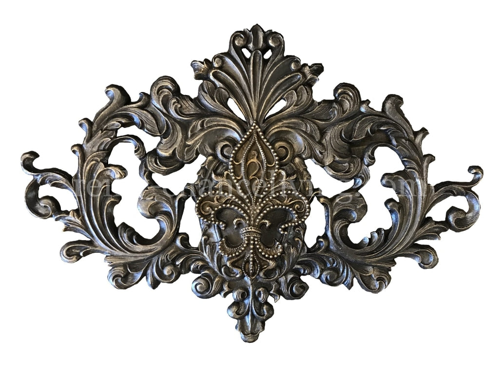 Large Fleur De Lis Carved Wall Plaque Reilly Chance Collection