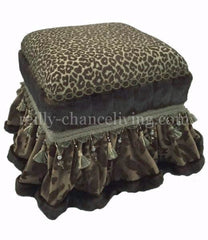 Foot_stool-brown_velvet-spa_green_leopard-tassel_fringe-faux_mink-reilly_chance_collection