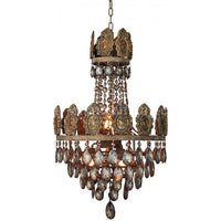 Carved Wood and Brass Medallion Chandelier