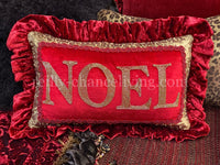Jeweled Christmas Pillow Noel