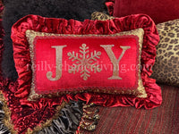 Jeweled Christmas Pillow Joy