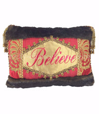 Christmas Pillow Believe Faux Fur 18x13
