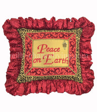 Christmas Pillow Leopard Peace on Earth 21x19 (not incl.ruffle)
