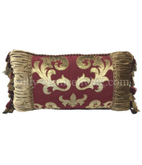 Designer Holiday Pillow Burgundy Red and Gold 27x14