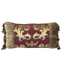 Designer Holiday Pillow Burgundy Red And Gold 27X14 Pillows