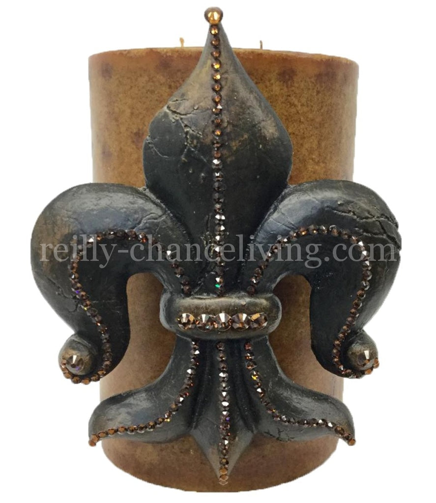 Decorative Candle With Large Jeweled Fleur De Lis 6X9 Candles