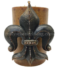 Decorative Candle with Large Jeweled Fleur de Lis 6x9