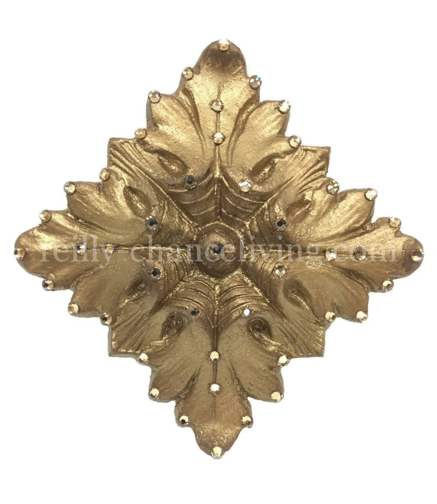 Jeweled Drapery Medallion / Tassel Tie Back Holder Square Hardware
