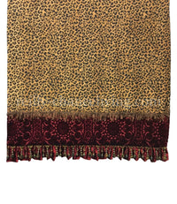 Leopard Throw With Red Velvet and Beads