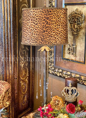 Gallery Designs Accent Lamp with Crystals and Leopard Print Lamp Shade