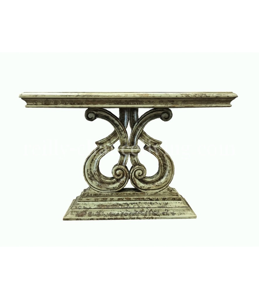 Peruvian Home Furnishings Dominica Hand Painted Wood Console Table Cielo Finish FREE SHIPPING