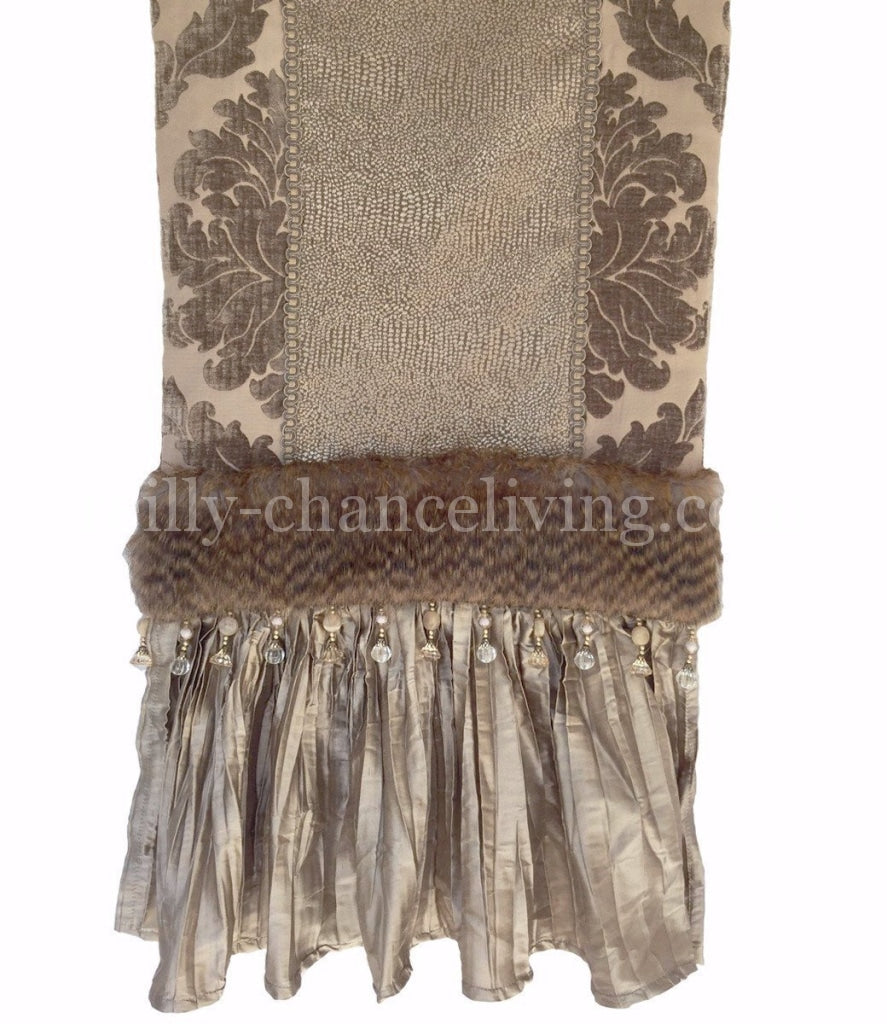 Taupe Chenille Damask And Silk Table Runner.  Table_runner Taupe_chenille Silk Beads Faux_fur Reilly_chance_runner