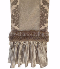 Taupe Chenille Damask And Silk Table Runner