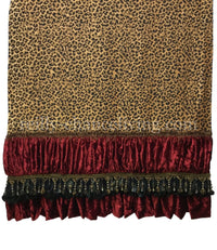 Leopard Throw with Feathers and Beads