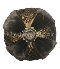 Round Accent Pillow with Faux Mink and Medallion