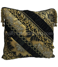 Designer Accent Pillow Black and Gold with Leopard