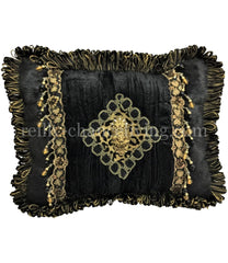Luxury Decorative Pillow Black And Gold Rectangle