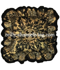 Luxury Decorative Pillow Ruffled with Jeweled Medallion