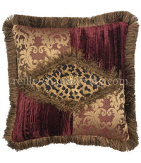 Luxury Pillow Burgundy and Gold with Leopard print