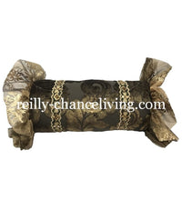 Decorative Bolster Pillow Chocolate Brown and Metallic Gold