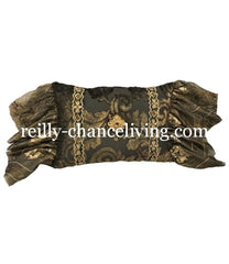 Decorative Rectangle Pillow Chocolate Brown And Metallic Gold