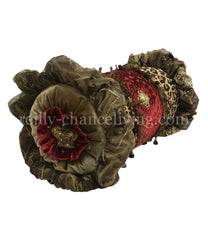 Luxury Decorative Bolster Pillow Red Velvet Ruffled with Jeweled Crown