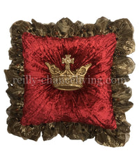 Luxury Decorative Pillow Red Velvet Ruffled with Jeweled Crown