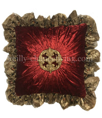 Luxury Decorative Pillow Red Velvet Ruffled with Jeweled Medallion