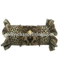 Decorative Bolster Pillow with Leopard Print