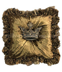 Luxury Decorative Pillow Bronze Velvet Ruffled with Jeweled Crown